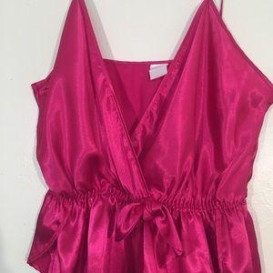 delicates Intimates & Sleepwear - Delicates hot pink satin intimate romper size M